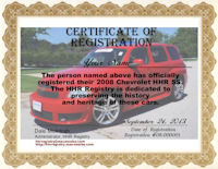 Custom HHR Certificate of Registration