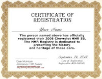 Standard HHR Certificate of Registration